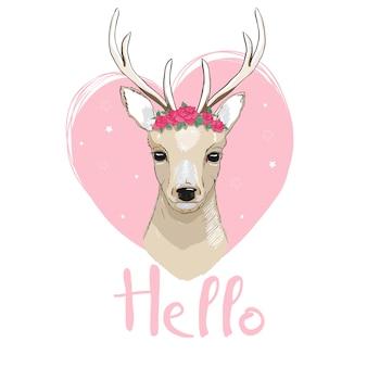 Conception d'illustration de dessin animé de cerf. vecteur animal bambi mignon.
