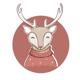 Conception d'illustration de dessin animé de cerf.