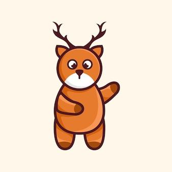 Conception d'illustration de dessin animé de personnage de cerf mignon