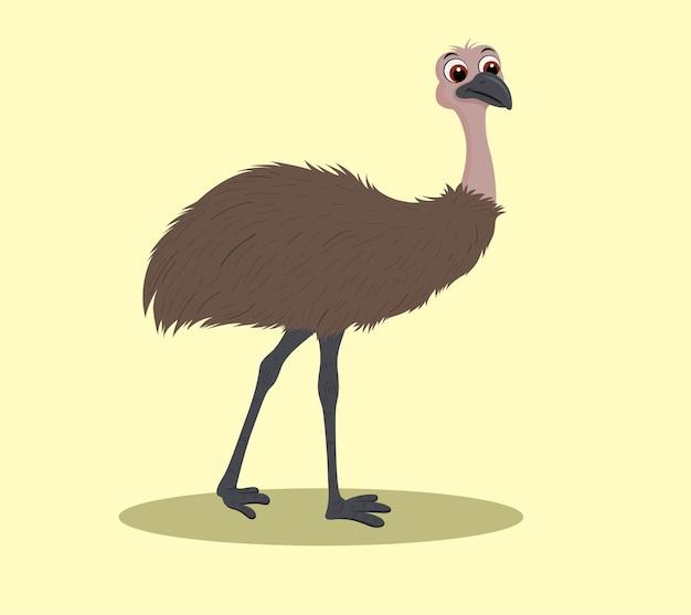 Conception d'illustration de dessin animé à pied emu