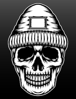 Conception d'illustration dessiné main rappeur crâne monochrome