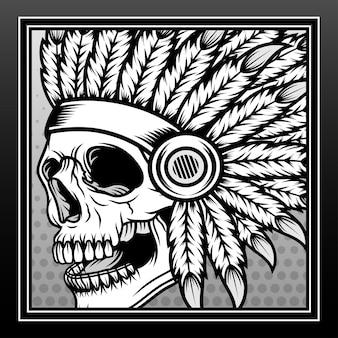 Conception d'illustration dessinée à la main de crâne indien monochrome