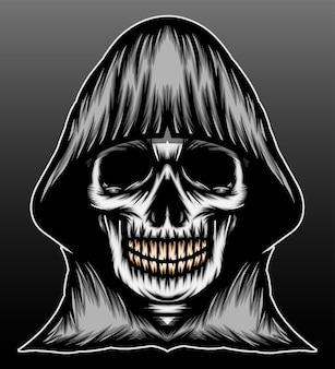 Conception d'illustration dessinée à la main de faucheuse de crâne