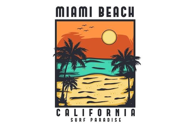 Conception d'illustration dessinée à la main de miami beach californie
