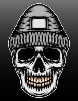 Conception d'illustration dessinée à la main de rappeur de crâne