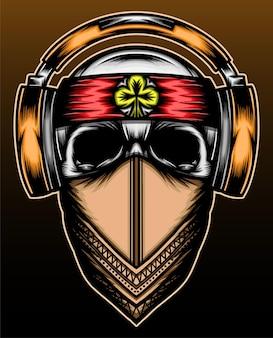 Conception d'illustration dessinés à la main de crâne de musique
