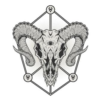Conception d'illustration détaillée de crâne de tête de chèvre