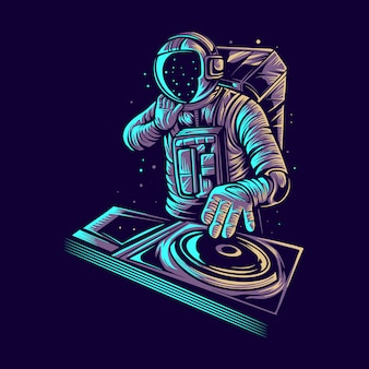 Conception d'illustration de disc jockey astronaute
