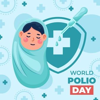Conception d'illustration de fond pour la journée mondiale de la polio
