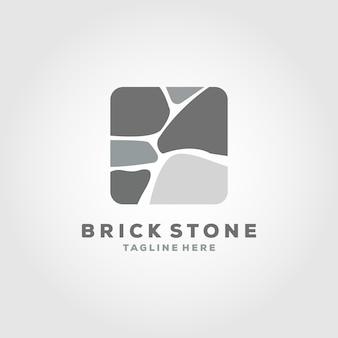 Conception d'illustration d'icône de vecteur de logo de pierre de brique