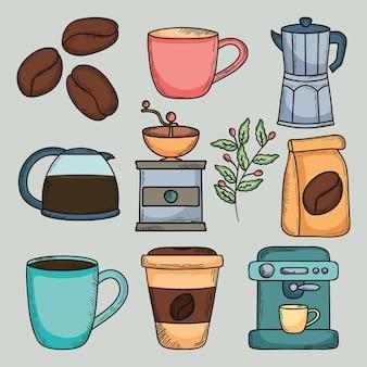 Conception d'illustration d'icônes liées au café