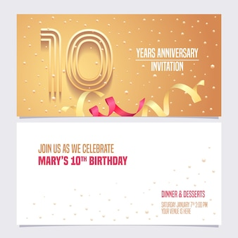 Conception d'illustration invitation anniversaire 10 ans