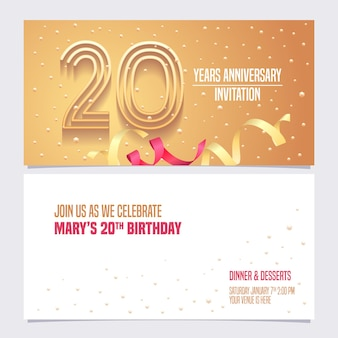 Conception d'illustration invitation anniversaire 20 ans