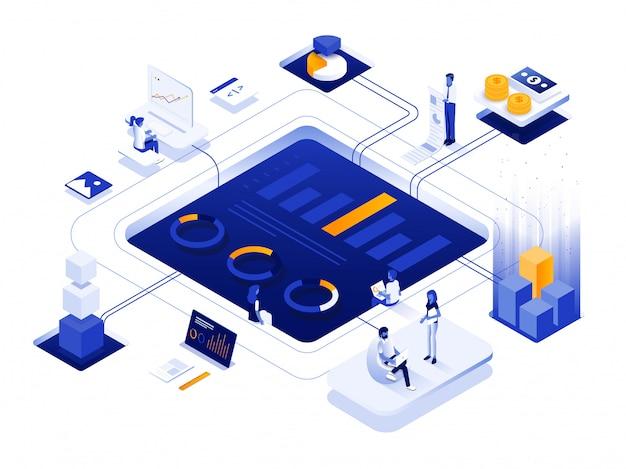 Conception d'illustration isométrique moderne - marketing numérique
