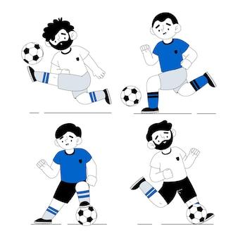Conception d'illustration de joueurs de football plat