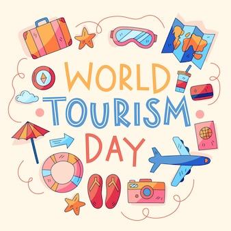 Conception d'illustration de la journée mondiale du tourisme dessinée à la main