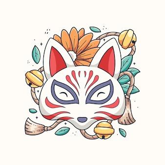 Conception d'illustration de kitsune japonais