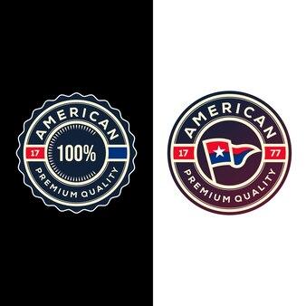Conception d'illustration de logo de badges garantis premium drapeau américain