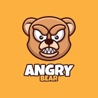Conception d'illustration de logo de dessin animé créatif ours en colère