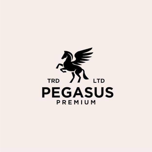 Conception d'illustration de logo noir premium pegasus vector