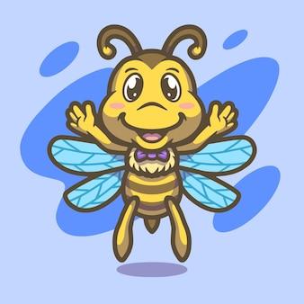 Conception d'illustration de mascotte d'abeille mignonne