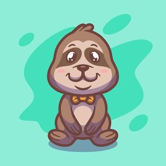 Conception d'illustration mascotte paresseux mignon