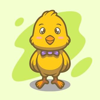 Conception d'illustration de mascotte de poussins mignons