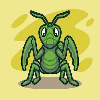 Conception d'illustration mascotte sauterelle mignonne