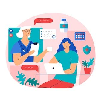 Conception d'illustration de médecin en ligne