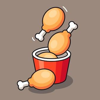 Conception d'illustration mignonne de poulet frit