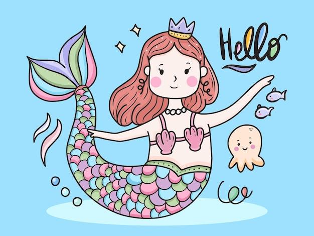 Conception d'illustration mignonne de sirène pour les enfants
