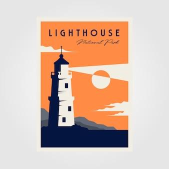 Conception d'illustration minimale d'affiche de phare