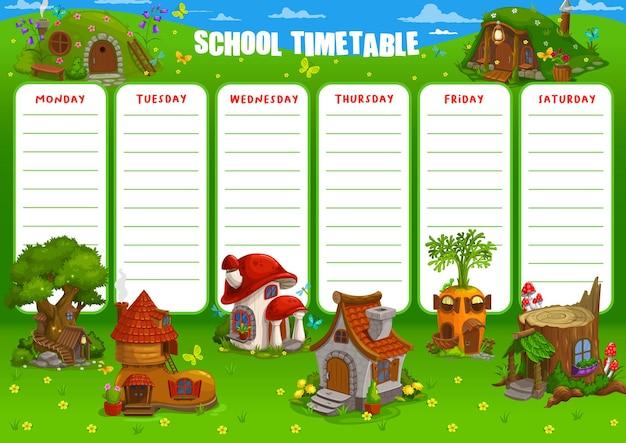 Conception d'illustration de modèle de calendrier horaire scolaire