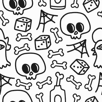 Conception d'illustration de modèle de crâne doodle dessiné à la main