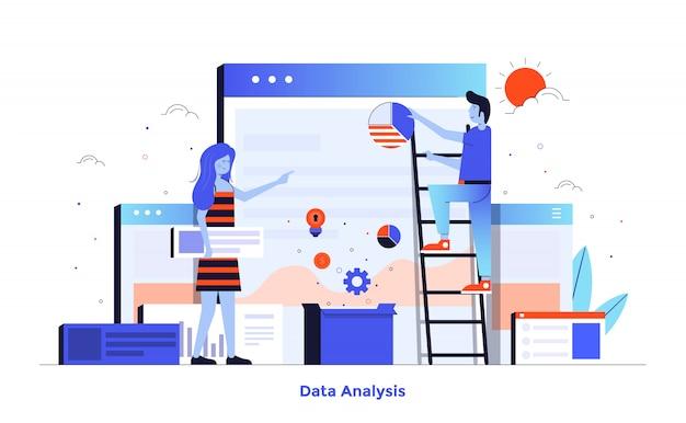 Conception d'illustration moderne de couleur plate - analyse de données