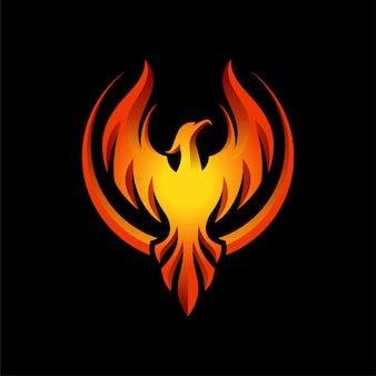Conception d'illustration moderne flaming phoenix