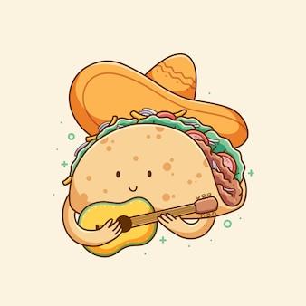 Conception d'illustration de nourriture taco mignon dessiné à la main