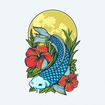 Conception d'illustration de l'oeuvre de poisson koi