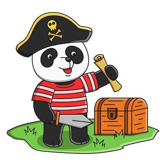 Conception d'illustration de panda pirate dessin animé mignon