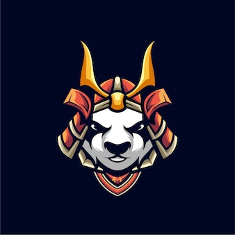 Conception d'illustration de panda samurai, logo esport.