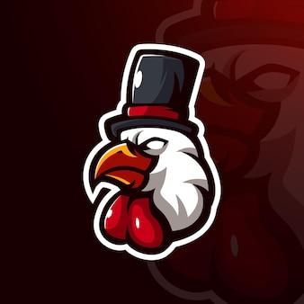 Conception d'illustration de poulet magique pour les jeux et le sport de logo d'équipe