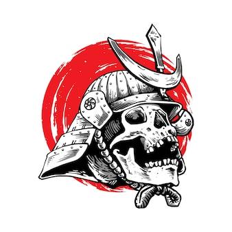 Conception d'illustration de samouraï avec visage de crâne