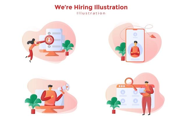 Conception d'illustration sertie de concept d'embauche