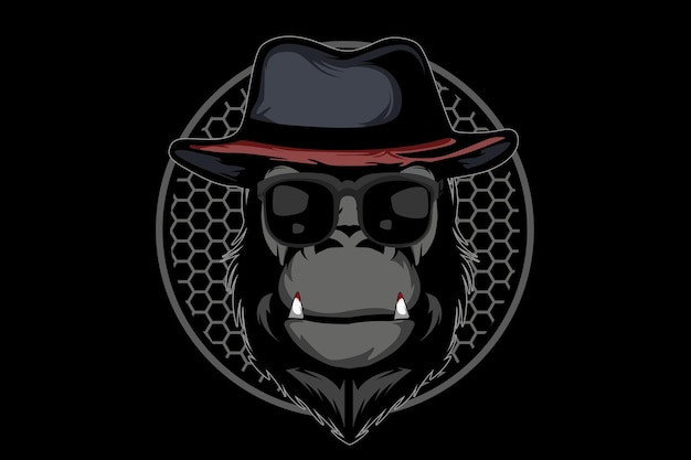 Conception d'illustration de singe mafieux