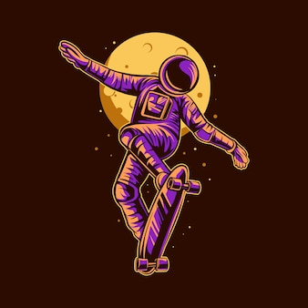 Conception d'illustration de skateboard astronaute freestyle
