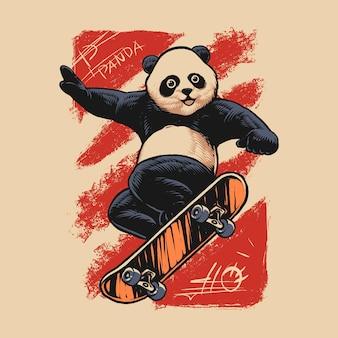 Conception d'illustration de skateboard panda heureux