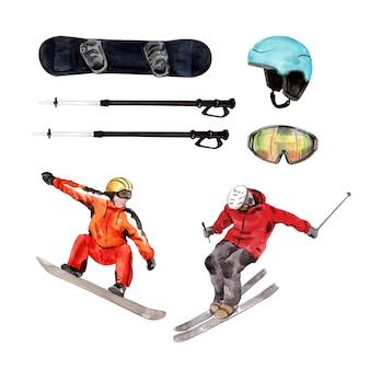 Conception d'illustration de sport d'hiver avec dessinés à la main, aquarelle.