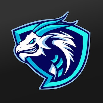 Conception d'illustration de sport de mascotte de glace bleue de dragon. logo esport gaming team squad