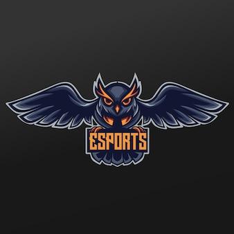 Conception d'illustration de sport de mascotte de nuit de hibou. logo esport gaming team squad