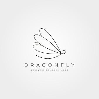 Conception d'illustration de symbole d'insecte de logo de vecteur minimaliste de libellule